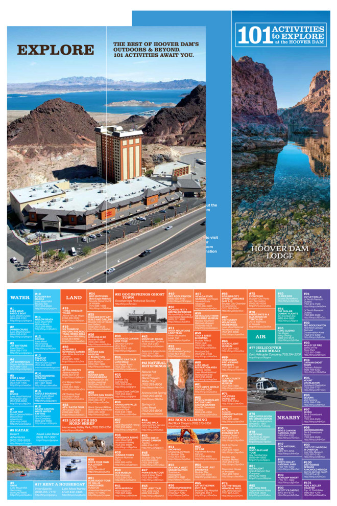 Hoover Dam Lodge 4 Panel Brochure: 101 Things to Do